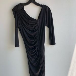 C. Malandrino black dress w/ asymmetric neckline
